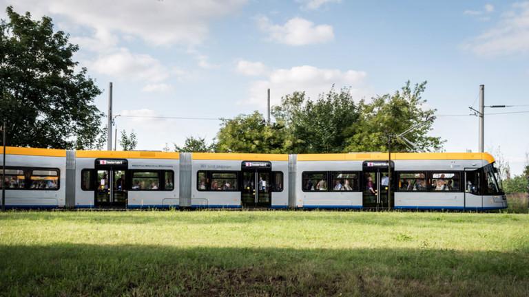 Straßenbahn in Leipzig.