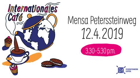 Veranstaltungsplakat mit Informationen zum Internationalen Café