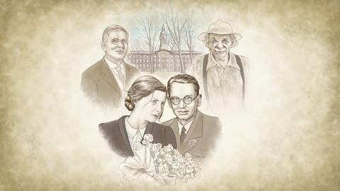 Zeichnung eines Paares und zwei älteren Herren