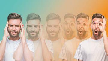Männer, gestresst und optimistisch