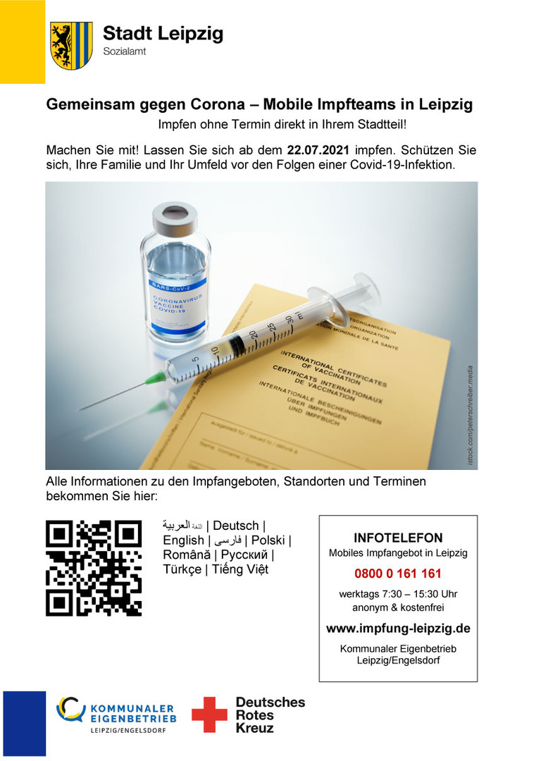 Info-Plakat: Mobile Impfteams der Stadt Leipzig