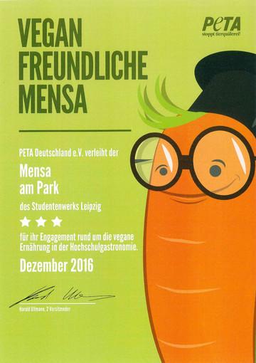 Peta Auszeichnung Vegane Mensa Leipzig